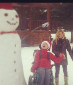 max, katie and snowman